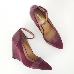 Nine West Wine Suede Pointed Toe Wedge Heels 7.5